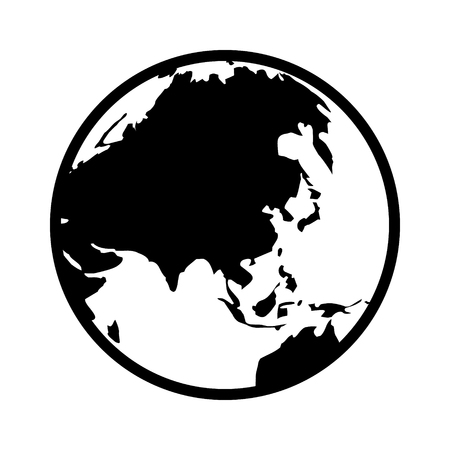 domination: World map globe or planet earth showing Asia line art icon for apps and websites Illustration
