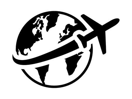 世界や海外旅行アプリとウェブサイトの飛行機フラット アイコンの旅