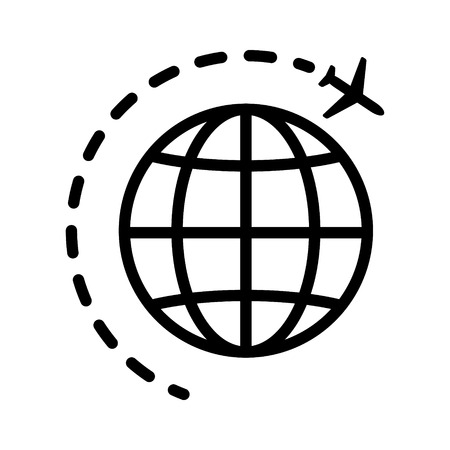 travel icon: World or international traveling on an airplane line art icon for travel apps and websites