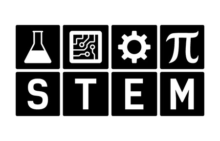 STEM - science, technology, engineering and mathematics flat icon for education apps and websites