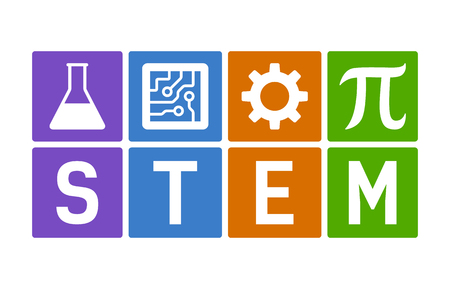 STEM - science, technology, engineering and mathematics flat color vector illustration Vettoriali