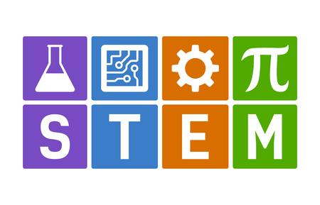 STEM - wetenschap, technologie, techniek en wiskunde vlakke kleur vectorillustratie
