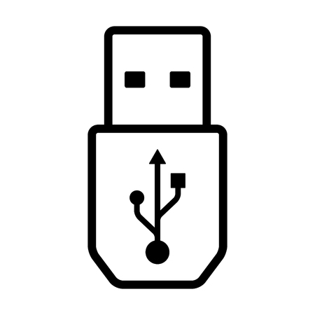 USB super speed connector cable line art icon for apps and websites 向量圖像