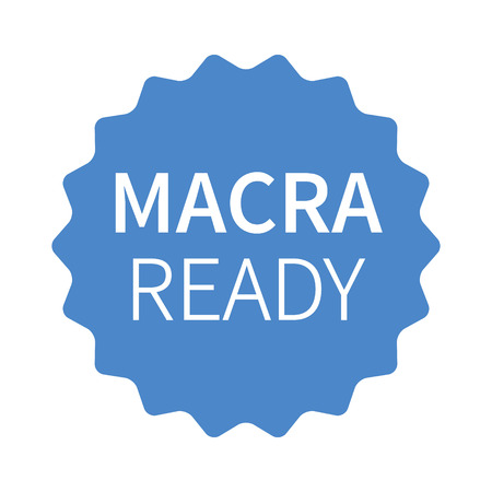 MACRA ready blue label, badge, burst, seal or stamp flat icon Illustration