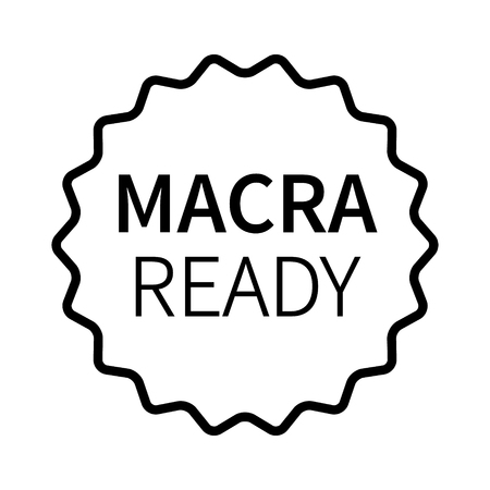 MACRA ready label, badge, burst, seal or stamp line art icon