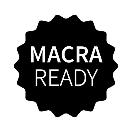 MACRA ready label, badge, burst, seal or stamp flat icon