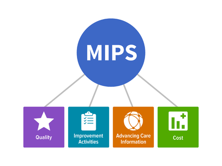 MIPS - Merit-Based Incentive Payment System for healthcare flat vector diagram with icons