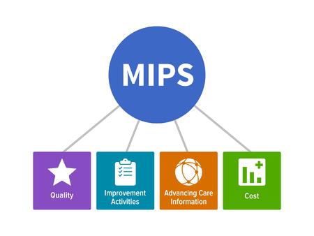 MIPS --Merit gebaseerde incentive Payment System voor de gezondheidszorg flat vector diagram met pictogrammen Stock Illustratie