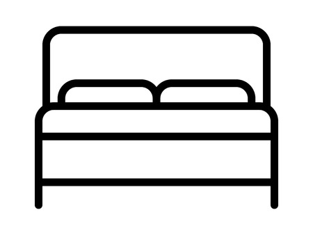 Hotel bed with mattress and pillows line art icon for apps and websites