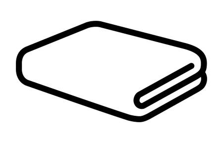 Folded bath towel or napkin line art icon for apps and websites Иллюстрация