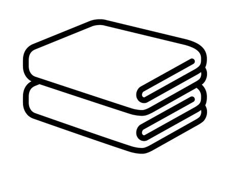 Stack of folded bath towels or napkins line art for apps and websites