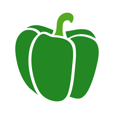 Green bell pepper or sweet capsicum flat icon for food apps and websites Иллюстрация