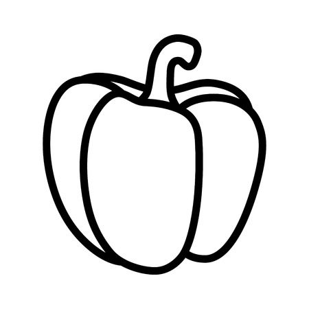 Bell pepper or sweet capsicum pepper line art icon for food apps and websites