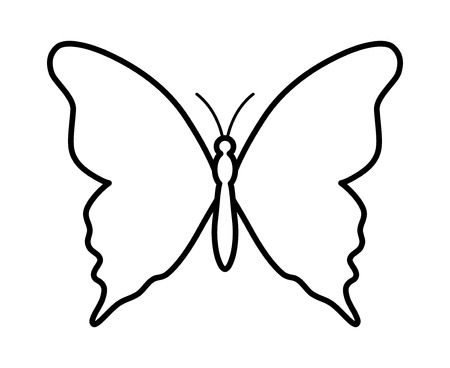 Butterfly winged insect line art icon for apps and websites