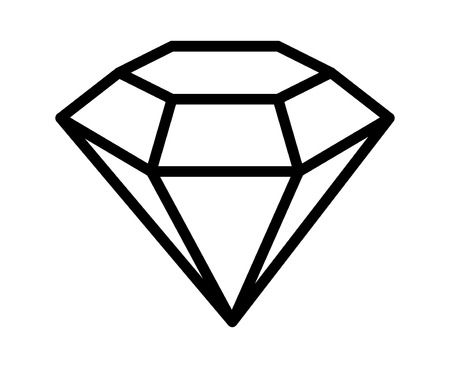 Diamond gemstone, jewel or gem line art icon for apps and websites