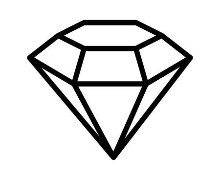 Pietra preziosa del diamante, gioiello o gemma icona linea per le applicazioni e siti web
