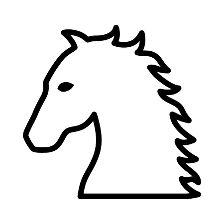 Horse, stallion, colt or equestrian line art icon for apps and websites