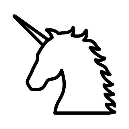 Unicorn - legendary mythical creature line art icon for apps and websites