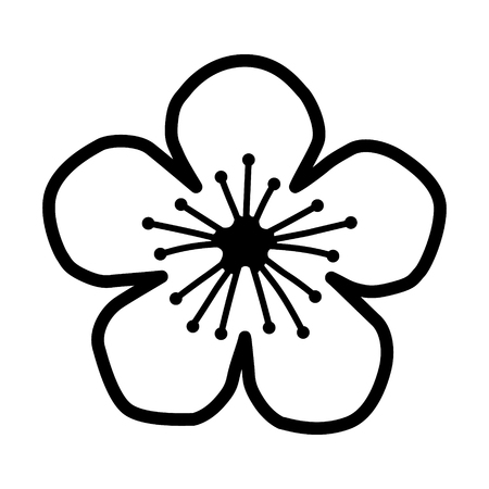 peach: Peach or cherry blossom flower line art icon for apps and websites