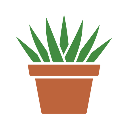 Aloe Aristata succulent potted plan flat color icon for apps and websites