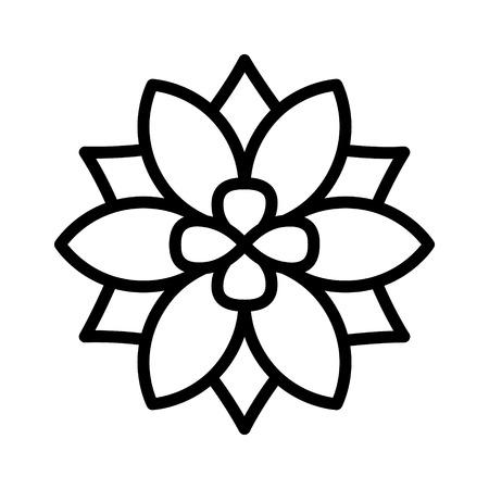 alergenos: Seis de pétalos de flores de gráficos de iconos de flores o línea de floración para aplicaciones y sitios web