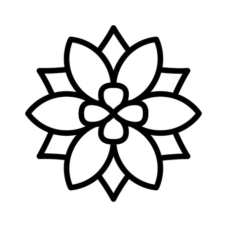 Six petal flower blossom or bloom line art icon for apps and websites
