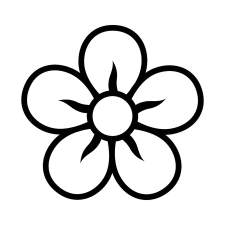 buttercup  decorative: Five petal flower blossom or bloom line icon for apps and websites