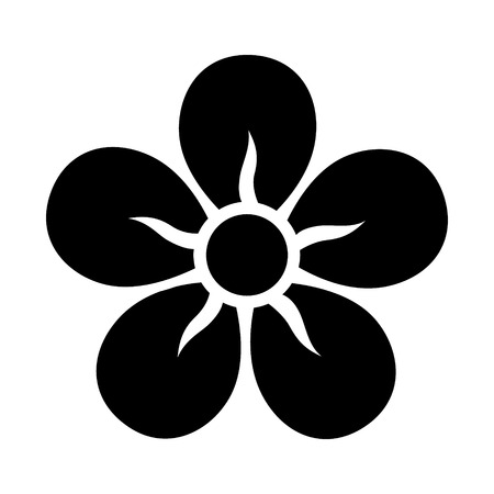 Five petal flower blossom or bloom flat icon for apps and websites Çizim