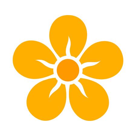 Gelbe fünf Blütenblatt Blütenblüte oder Blüte flache Farbe Symbol für Apps und Websites Standard-Bild - 65869133