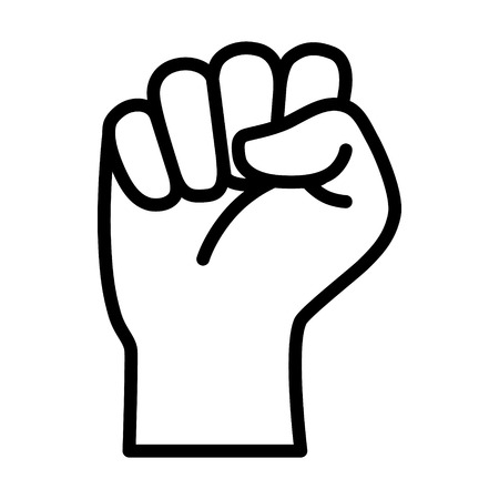 Raised fist - symbol of victory, strength, power and solidarity line art icon for apps and websites Vectores