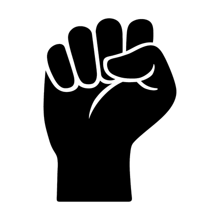 Raised fist - symbol of victory, strength, power and solidarity flat icon for apps and websites Imagens - 66078524