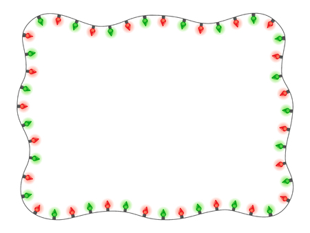 Christmas Holiday Red And Green Lights In A Frame Shape Flat ...
