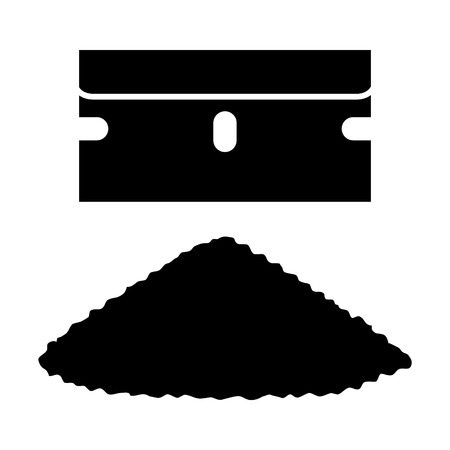 toxicity: Single edged razor blade with a pile of cocaine or coke flat icon for apps and websites Illustration