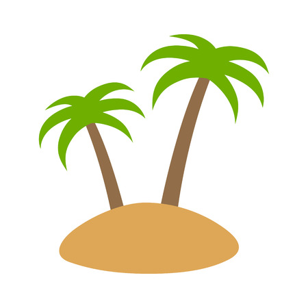 islet: Island or isle with two arecaceae palm trees flat color icon for apps and websites