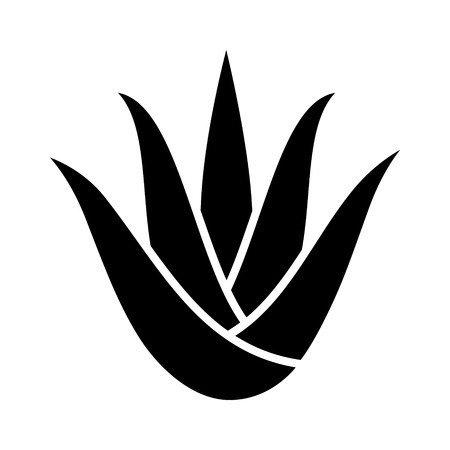 Aloe vera plant with leaves flat icon for apps and websites  イラスト・ベクター素材
