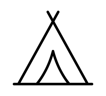 Camping tent at outdoor camp or tipi  teepee line art icon for apps and websites Illustration