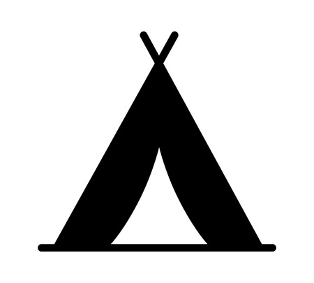 Camping tent at outdoor camp or tipi  teepee flat icon for apps and websites Illustration