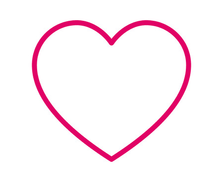 Thin line heart  romantic love pink line art icon for dating apps and websites