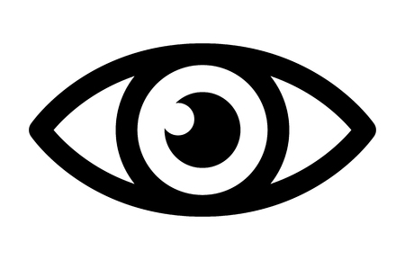 eye exam: Eye retina scan or optometry eye exam line art icon for medical apps and websites