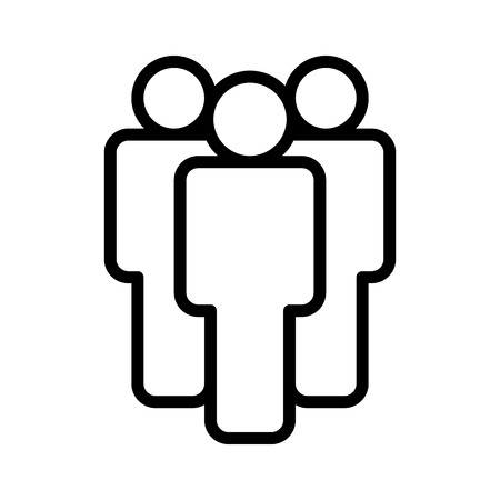 Group of people or group of users standing line art icon for apps and websites Illustration