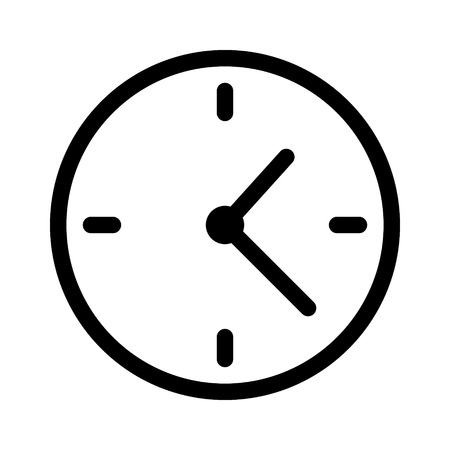 clockface: Simple clock face, clockface or watch face with hands line art icon for apps and websites