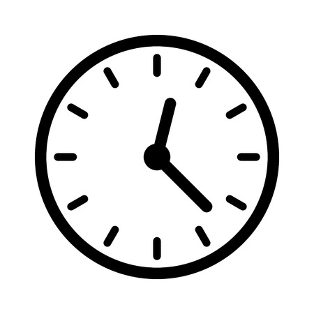 ticker: Clock face, clockface or watch face with hands line art icon for apps and websites