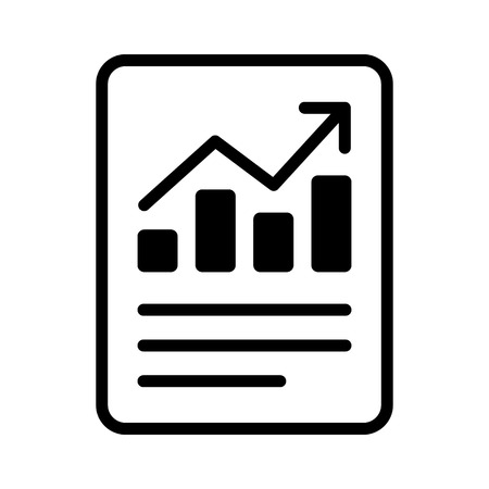 Financial report or income statement line art icon for apps and websites