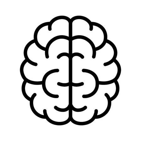 Brain, mind or intelligence line art icon for apps and websites