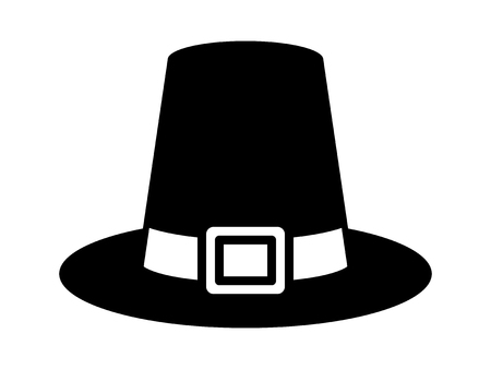 crowned: Pilgrim hat on Thanksgiving or capotain flat icon for apps and websites
