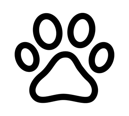 toe tag: Dog or cat paw print line art icon for animal apps and websites Illustration