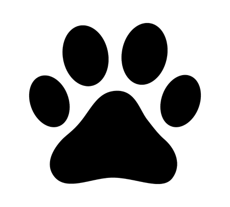 cat grooming: Dog or cat paw print flat icon for animal apps and websites