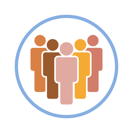 Group of people in a safe space or bubble flat color icon for apps and websites