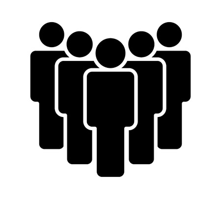 Group of five people or group of users standing flat icon for apps and websites