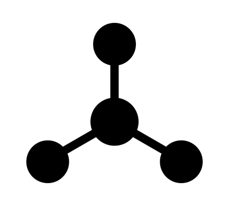 Trigonal molecule or chemical compound with three bonding partners flat icon